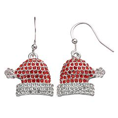 Christmas Santa Hat Pave Drop Earrings