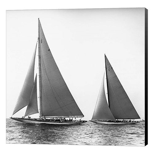 Metaverse Art Sailboats In The America's Cup 1934 Canvas Wall Art