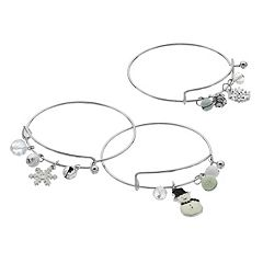 Jingle Bell, Candy Cane & Snowflake Charm Bangle Bracelet Set
