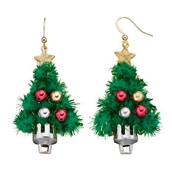 christmas tree tinsel drop earrings - Christmas Tree Tinsel