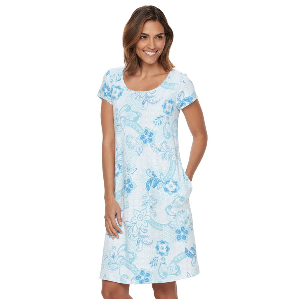 Women's Miss Elaine Essentials Pajamas: Floral Knit Sleep Shirt