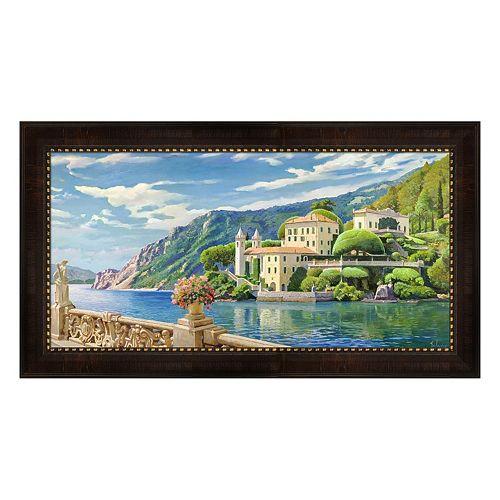 Metaverse Art Villa Sul Lago Framed Canvas Wall Art