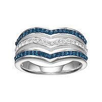 Silver Luxuries Crystal Chevron Multi Row Ring