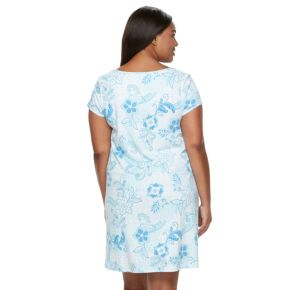 Plus Size Miss Elaine Essentials Pajamas: Floral Knit Sleep Shirt