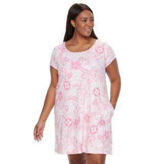 Plus Size Miss Elaine Essentials Pajamas: Floral Knit Sleep Shirt