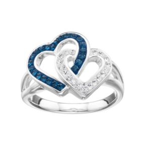 Silver Luxuries Crystal Linked Heart Ring