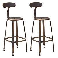 OSP Designs Lexington Distressed Metal Bar Stool 2-piece Set