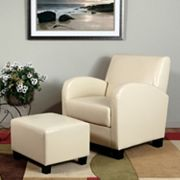 OSP Designs Faux-Leather Club Arm Chair & Ottoman 2 pc Set