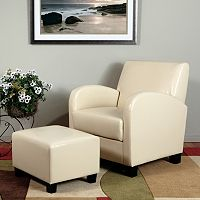 OSP Designs Faux-Leather Club Arm Chair & Ottoman 2 pc Set