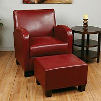 OSP Designs Faux-Leather Club Arm Chair & Ottoman 2-piece Set