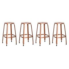 OSP Designs Newark Metal Backless Bar Stool 4 pc Set