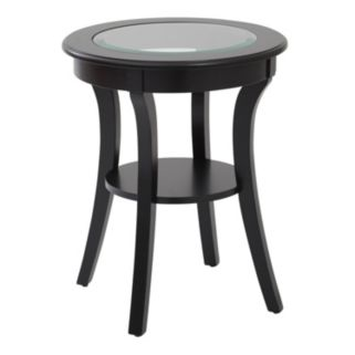 OSP Designs Harper Glass Top Round End Table
