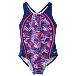 Girls 7-16 Speedo Patchwork Cubes Sport One-Piece Swimsuit