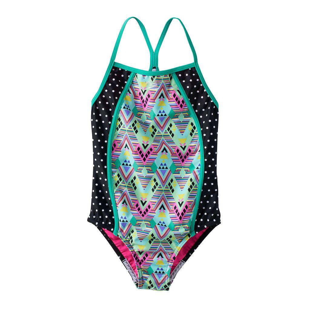 Girls 7-16 Speedo Diamond Geometric Splice One-Piece Swimsuit