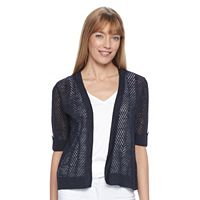 Women's Croft & Barrow® Open Work Cropped Cardigan