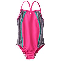 Girls 7-16 Speedo Heather Splice One-Piece Swimsuit