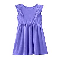 Toddler Girl Jumping Beans® Pom-Pom Trim Flutter Short Sleeve Solid Slubbed Dress
