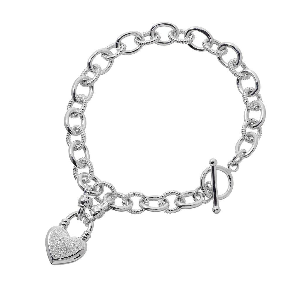 Sterling Silver 1 4 Carat T W Diamond Heart Charm Bracelet