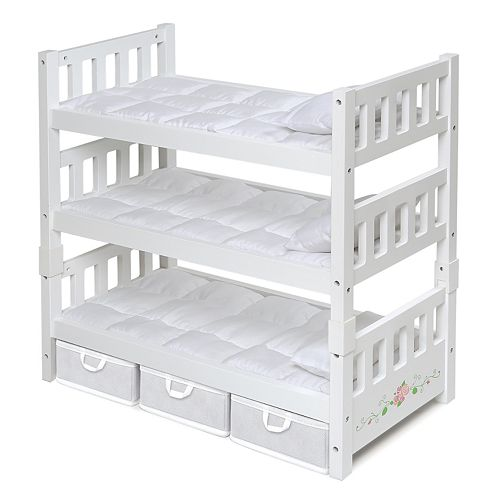 Badger Basket White Rose 1-2-3 Convertible Doll Bunk Bed with Storage Baskets