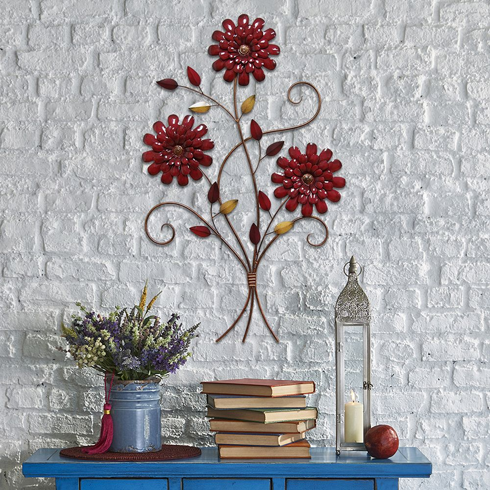 stratton home decor floral metal u0026 wood panel wall art m