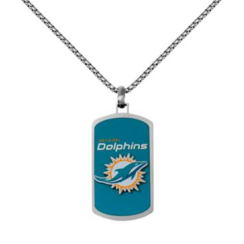 Men's Stainless Steel Miami Dolphins Dog Tag Necklace