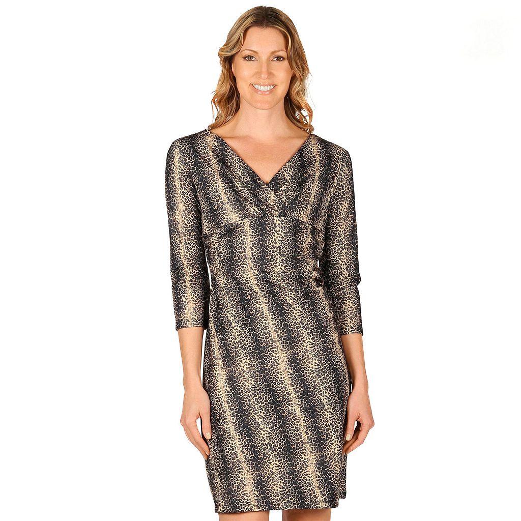 Women's Larry Levine Ruched Surplice Sheath Dress