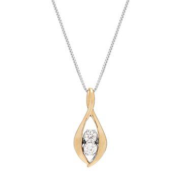 Sirena Collection Two Tone 10k Gold 1/8 Carat T.W. Diamond 2-Stone Reversible Teardrop Pendant