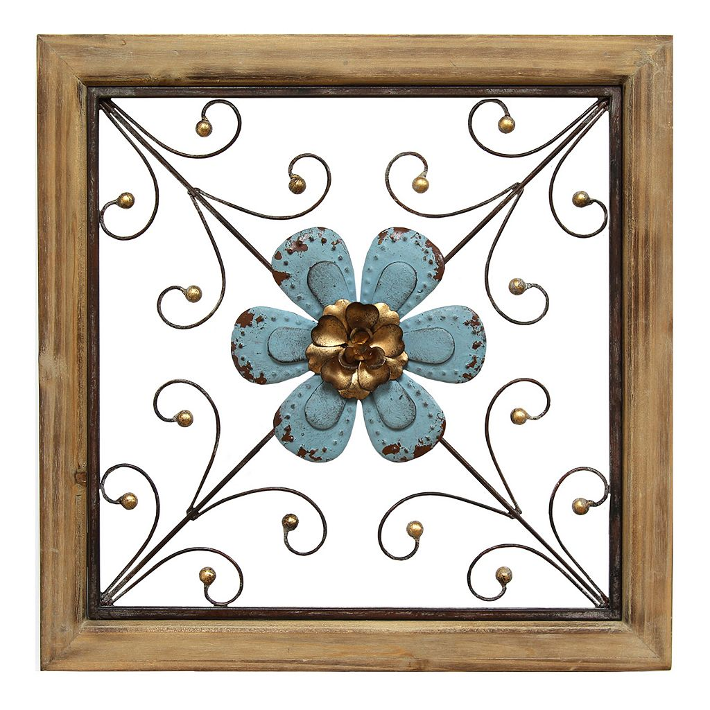 Stratton Home Decor Blue Floral Framed Square Wall Decor