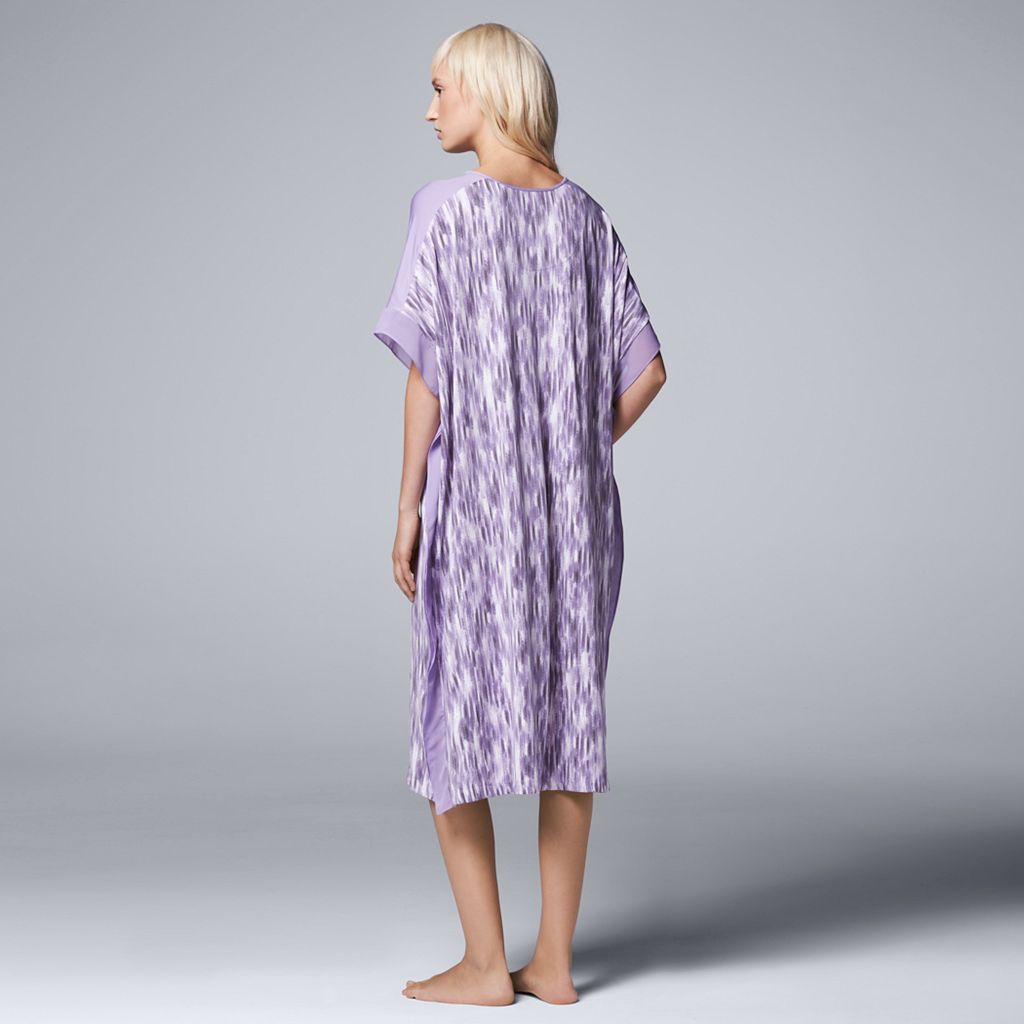 Women's Simply Vera Vera Wang Pajamas: Saturday Slumber Printed Long Caftan