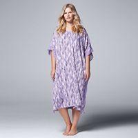 Plus Size Simply Vera Vera Wang Pajamas: Saturday Slumber Printed Long Caftan