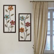 Stratton Home Decor Metal Floral Panel Wall Decor 2 pc Set