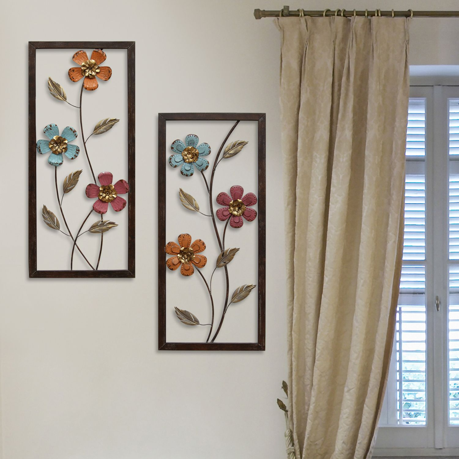 Stratton Home Decor Metal Floral Panel Wall Decor 2 Piece Set