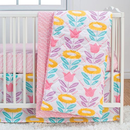 Poppi Living Flower 3-pc. Crib Bedding Set