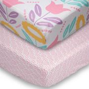 Poppi Living 2 pkFlower Fitted Crib Sheet Set