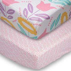 Poppi Living 2 pkFlower Fitted Crib Sheet Set