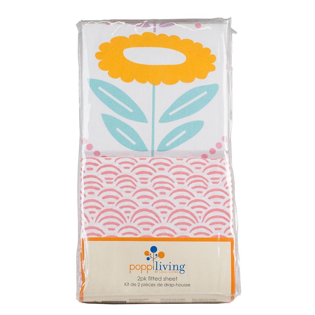 Poppi Living 2-pk. Flower Fitted Crib Sheet Set