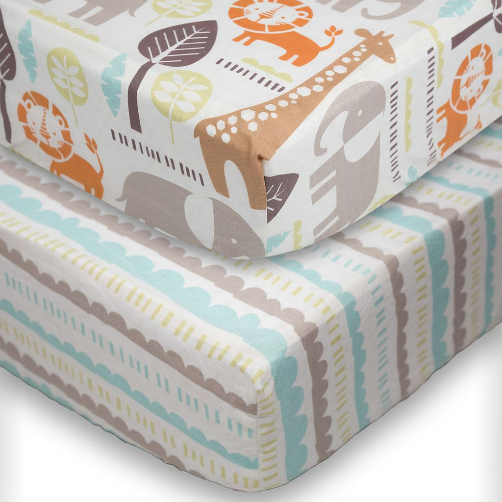 Poppi Living 2-pk. Safari Animals Fitted Crib Sheet Set