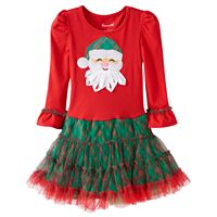 Toddler Girl Nannette Santa Applique Mesh Skirt Dress
