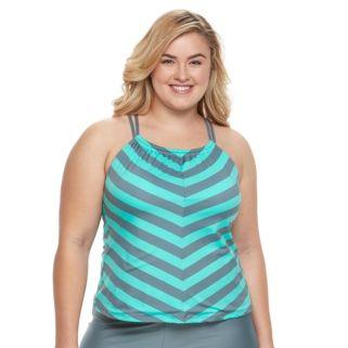 Plus Size N Striped Tankini Top