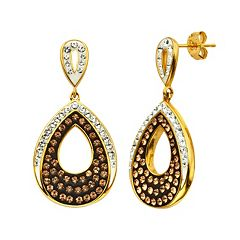 Champagne Brilliance 18k Gold Over Silver Crystal Teardrop Earrings