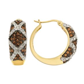 Champagne Brilliance 14k Gold Over Silver Crystal Hoop Earrings