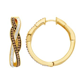 Champagne Brilliance 18k Gold Over Silver Crystal Infinity Hoop Earrings