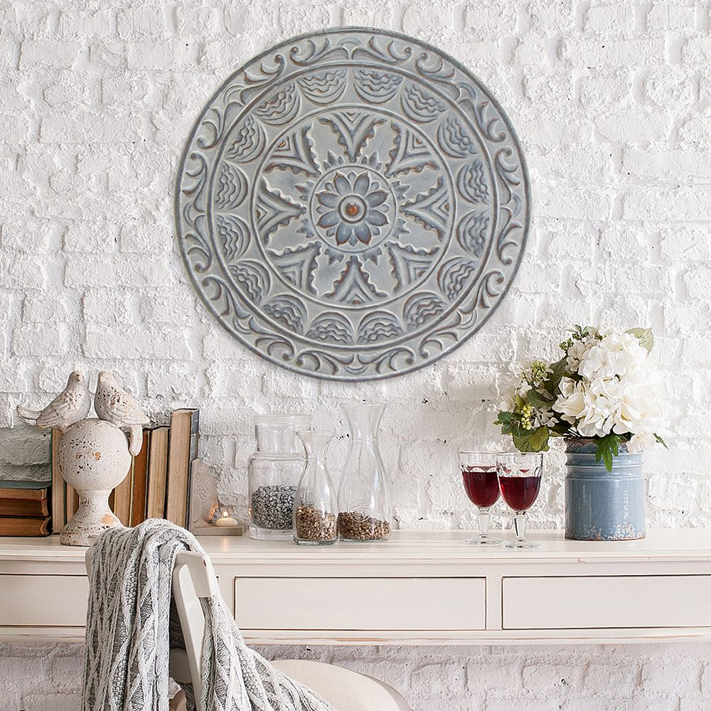 Stratton Home Decor Rustic Medallion Wall Art White ~ Medallion wall decor plate design ideas