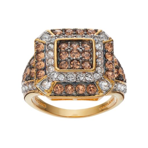 Champagne Brilliance 14k Gold Over Silver Crystal Octagon Ring