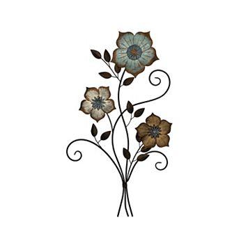 Stratton Home Decor Tricolor Flower Metal Wall Decor
