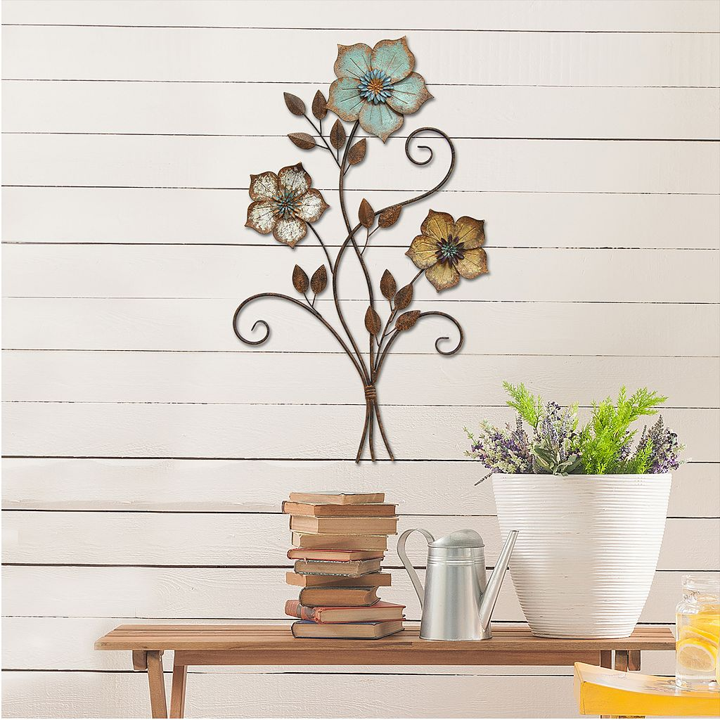 Stratton Home Decor Tricolor Flower Metal Wall Decor