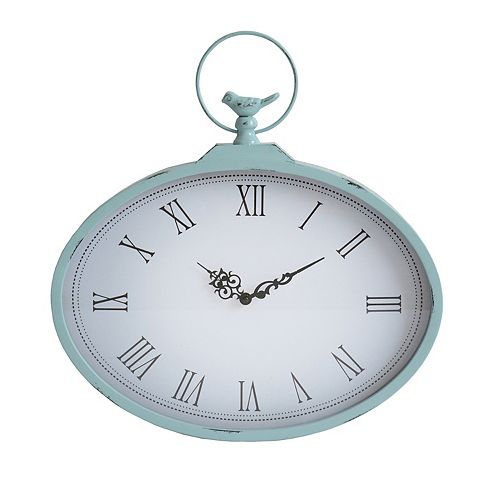 Stratton Home Decor Shabby Roman Numerals Wall Clock