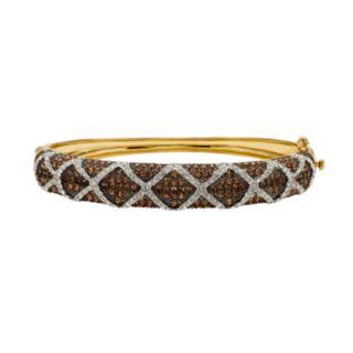 Champagne Brilliance 14k Gold Over Silver Hinged Crystal Bangle Bracelet