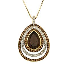 Champagne Brilliance 14k Gold Over Silver Smoky Quartz Teardrop Pendant