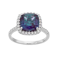 Sterling Silver Lab-Created Alexandrite & White Sapphire Cushion Halo Ring